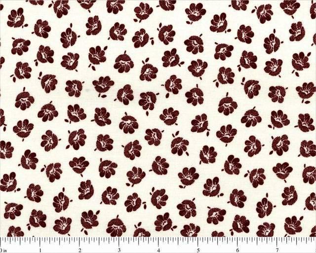 TISSU patchwork américain blanc fleurs bordeaux