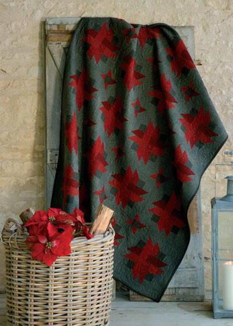 tissu patchwork Flanelle chevrons rouge et noir