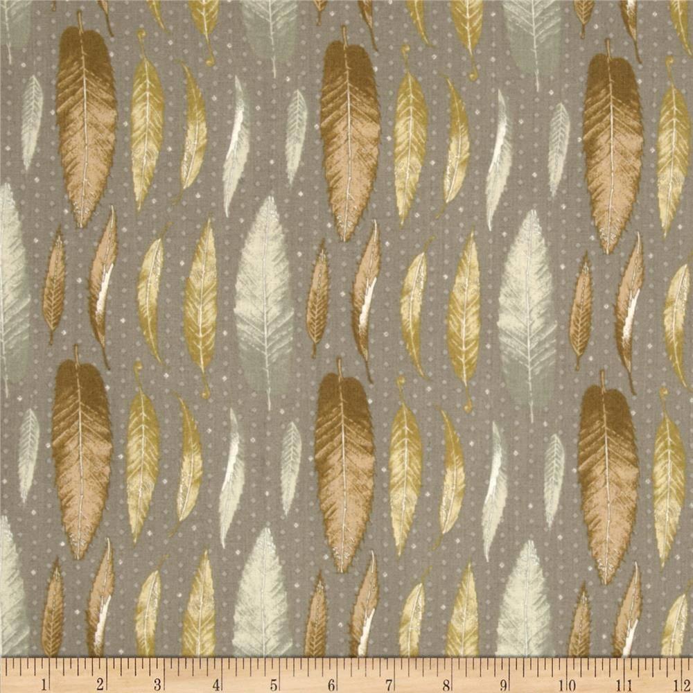 tissu patchwork gris, plumes, Lonni Rossi, Andover fabrics