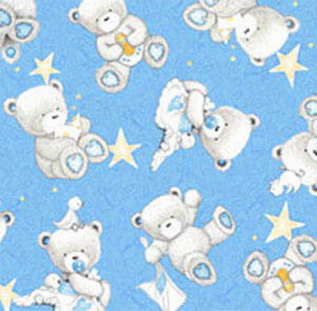 tissu enfant POPCORN THE BEAR Quilting treasures