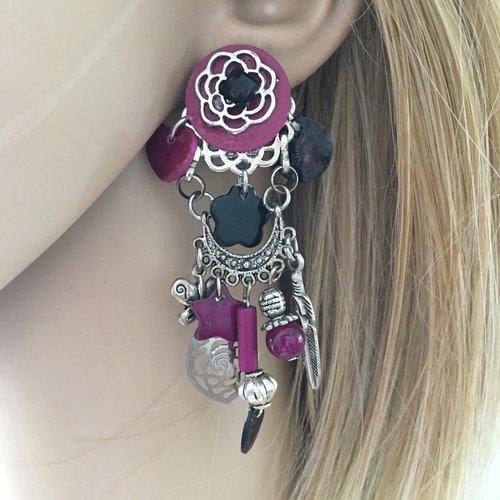 Boucles d'oreilles clips violet et argenté fantaisies