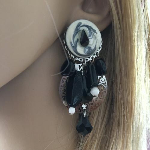Grandes boucles d'oreilles clips fantaisies chic noir  argenté