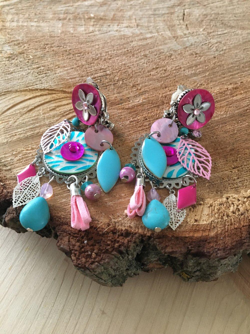 boucles d'oreilles colorées clips