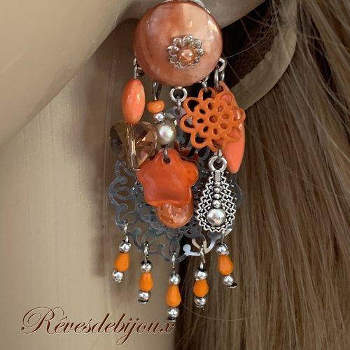 Boucles d'oreilles argenté et orange clips fantaisies