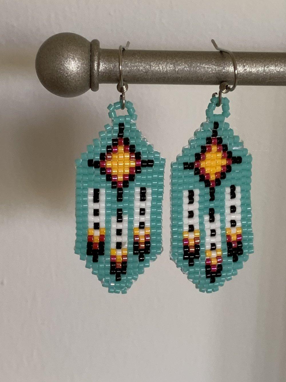 boucles d'oreilles percées et tissées de perles miyuki