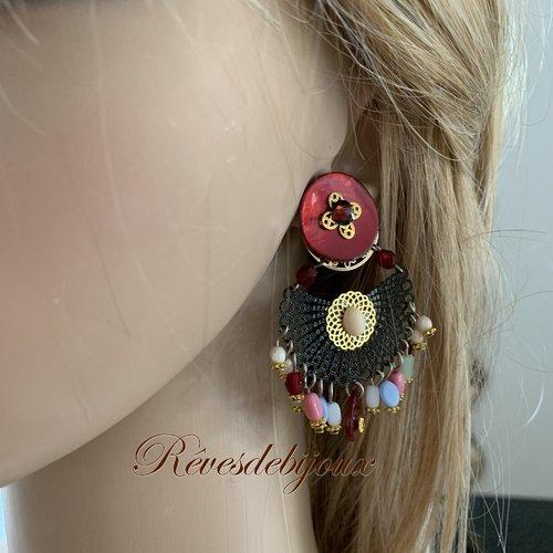 Boucle d'oreille clip colorée