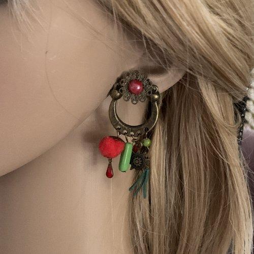 Boucles d'oreilles créole percée vert rouge et bronze