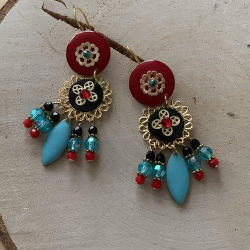 Boucles d'oreilles percées pendantes colorées