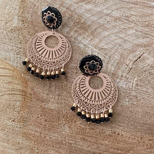 Boucles d'oreilles percées or rose et noir