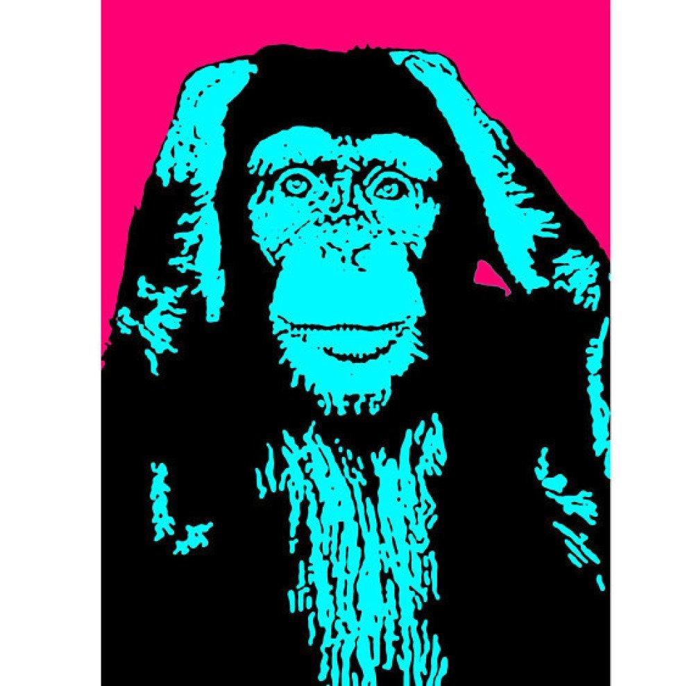 Tableau singes de la sagesse POP-ART 2 couleurs  3x(40x55)