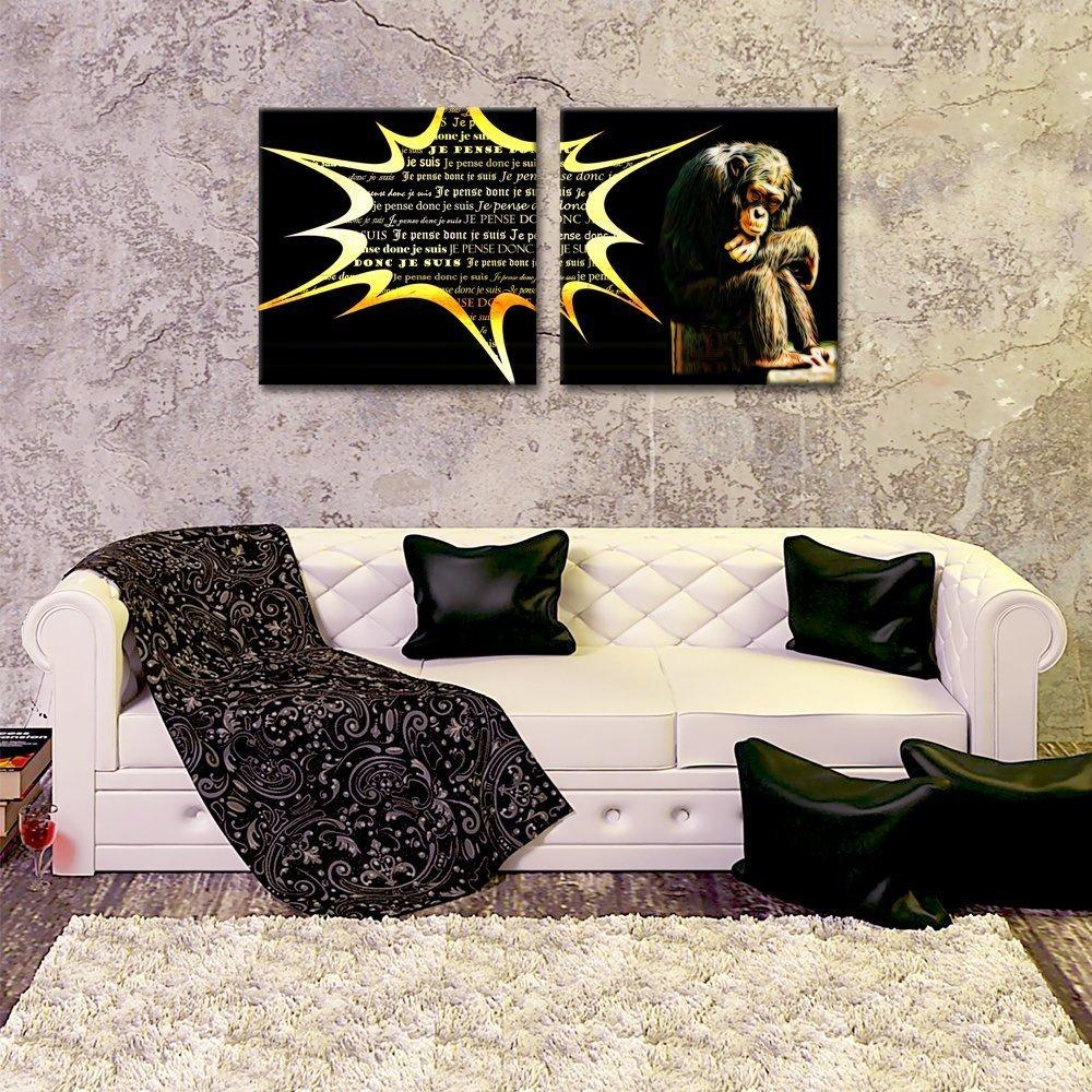 Tableau sur toile singe penseur 2x(40x40cm)