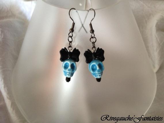 Boucles d'oreille Skulls  Bleus