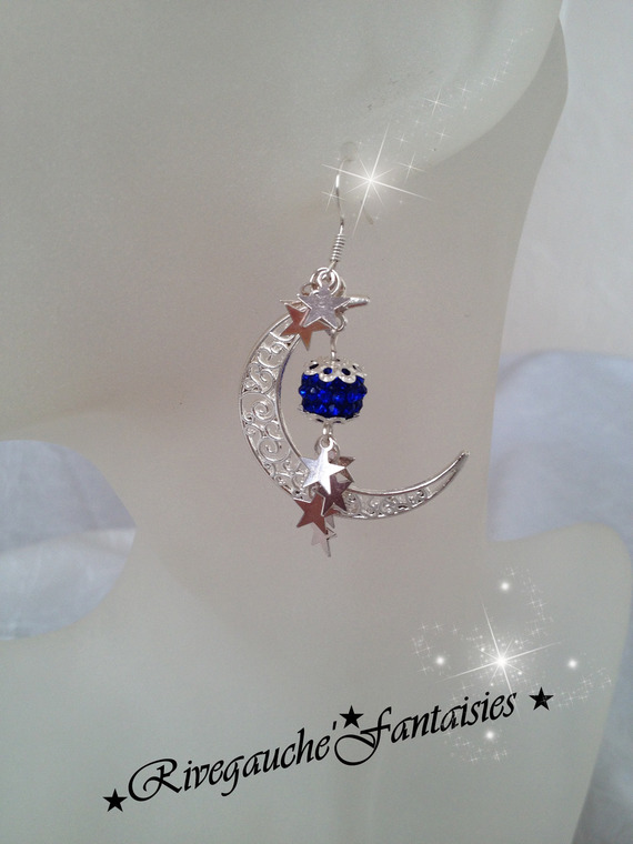 "Boucles d'oreille pendantes "" In the moon"""
