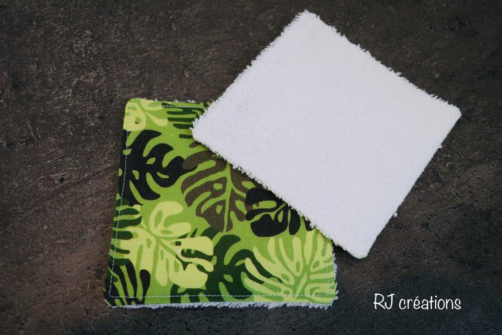 lot 10 lingettes démaquillantes lavables avec panier assorti /tissu éponge bambou Oeko-Tex. zéro déchet