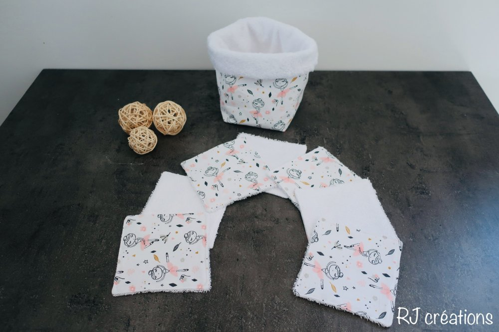 lot lingettes démaquillantes lavables avec panier assorti /tissu éponge bambou Oeko-Tex/ zéro déchet