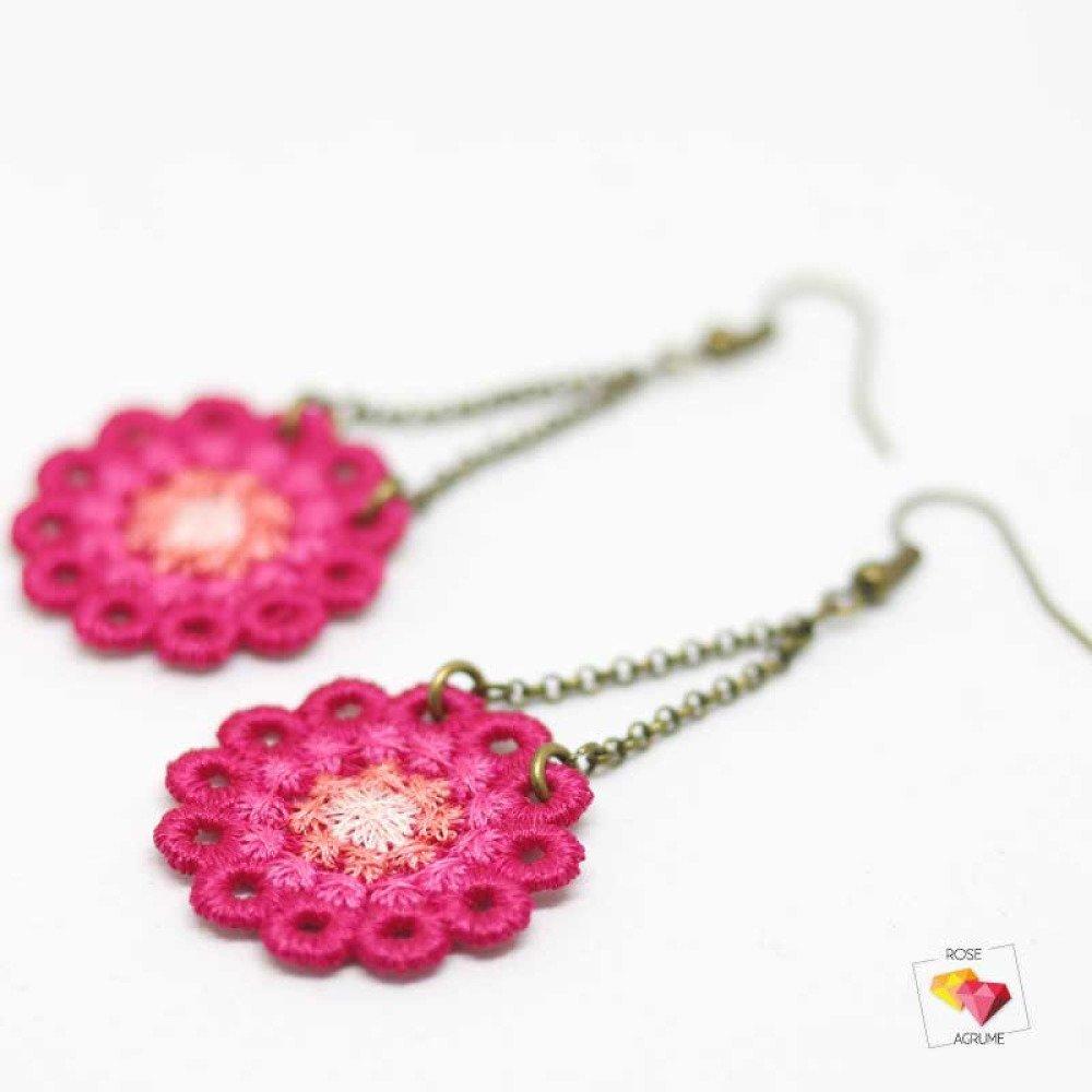 Boucles d'oreilles rosace en dentelle rose fuschia