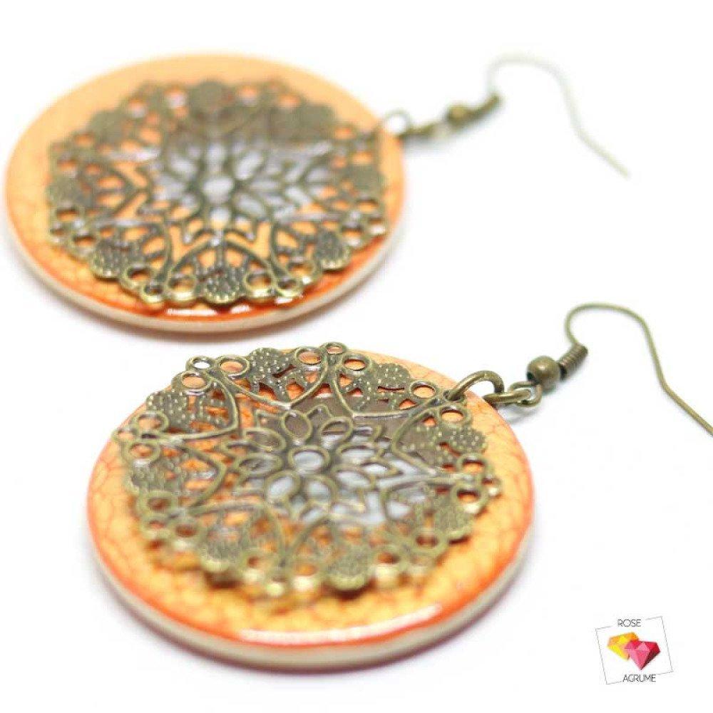 Boucles d'oreilles créole orange et estampe bronze