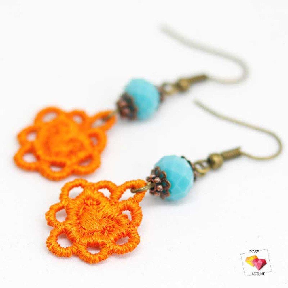 Boucles d'oreilles mini coeur en dentelle orange
