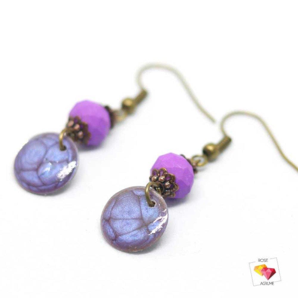 Boucles d'oreilles mini chic violette