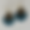 Boucles d'oreilles ariane bleu paon