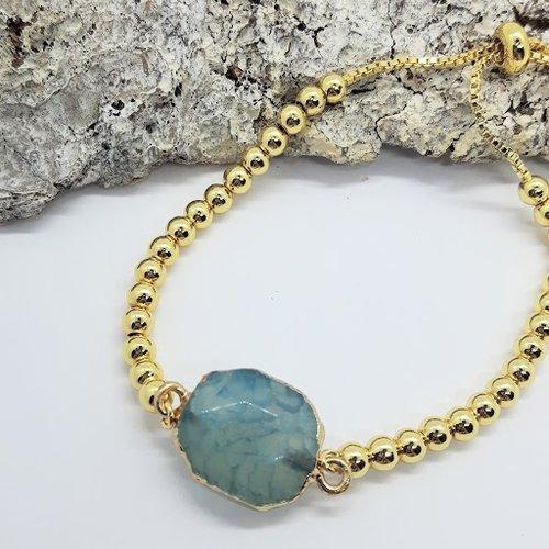 Bracelet or et pierre naturelle