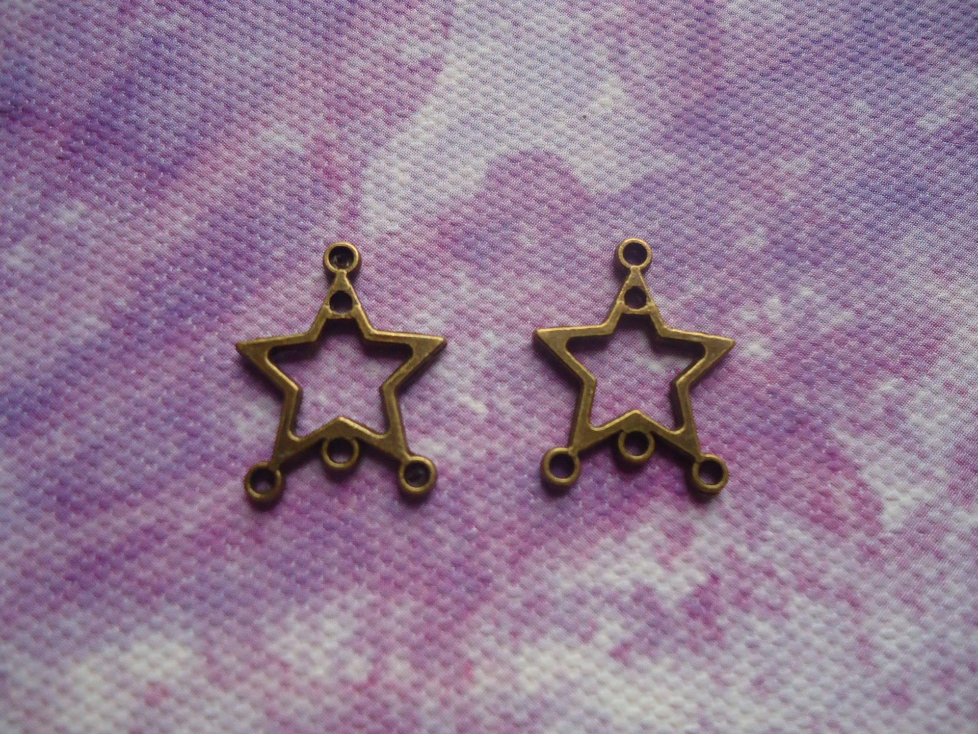 Connecteur en lot de 10 forme étoile métal bronze