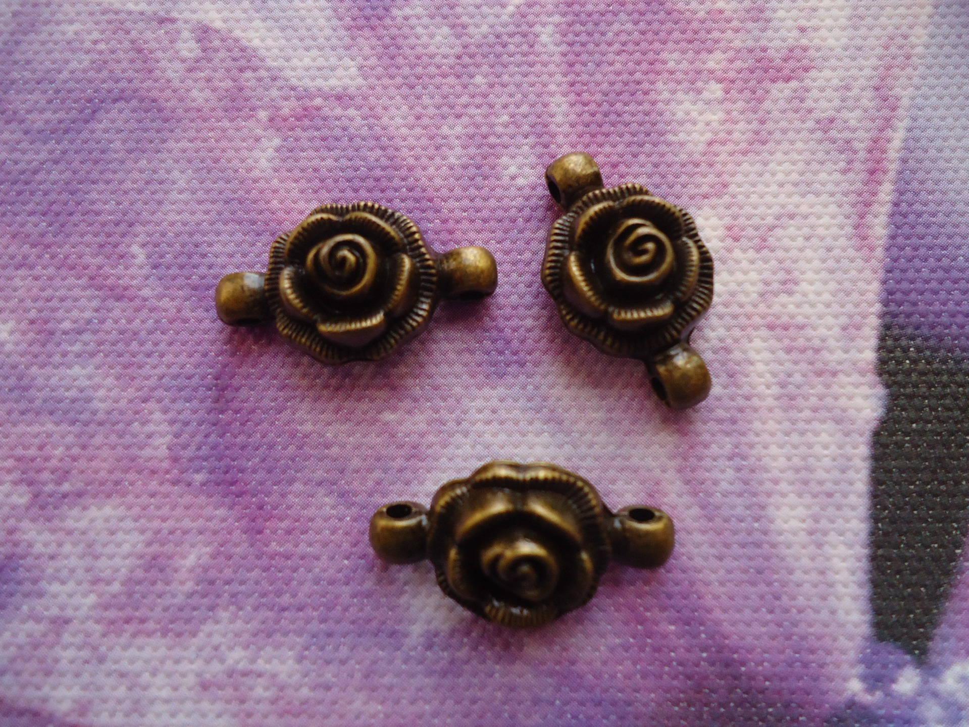 Connecteur en lot de 10 pour bijoux forme fleur métal bronze