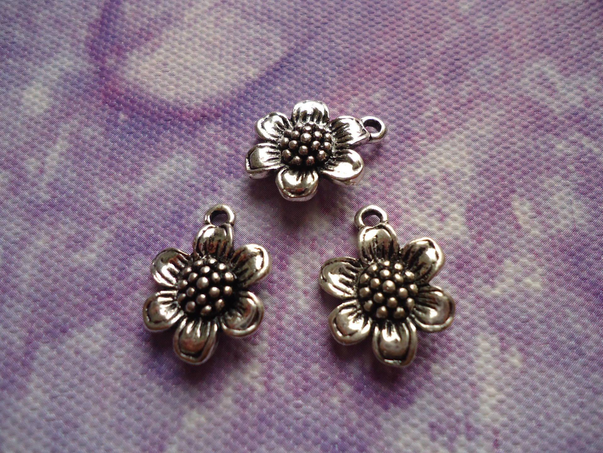 Breloques pendentifs en forme de fleur (tournesol) en lot de 10