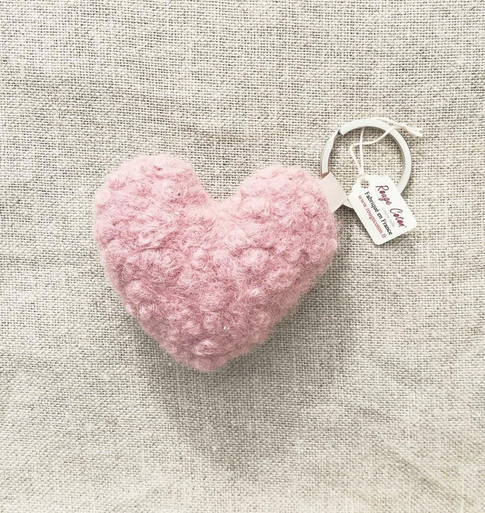 Porte-clefs cœur doudou rose