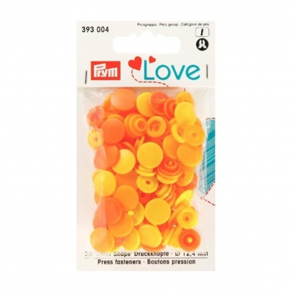 "Boutons pression PRYM ""Love"" rond  orange jaune"