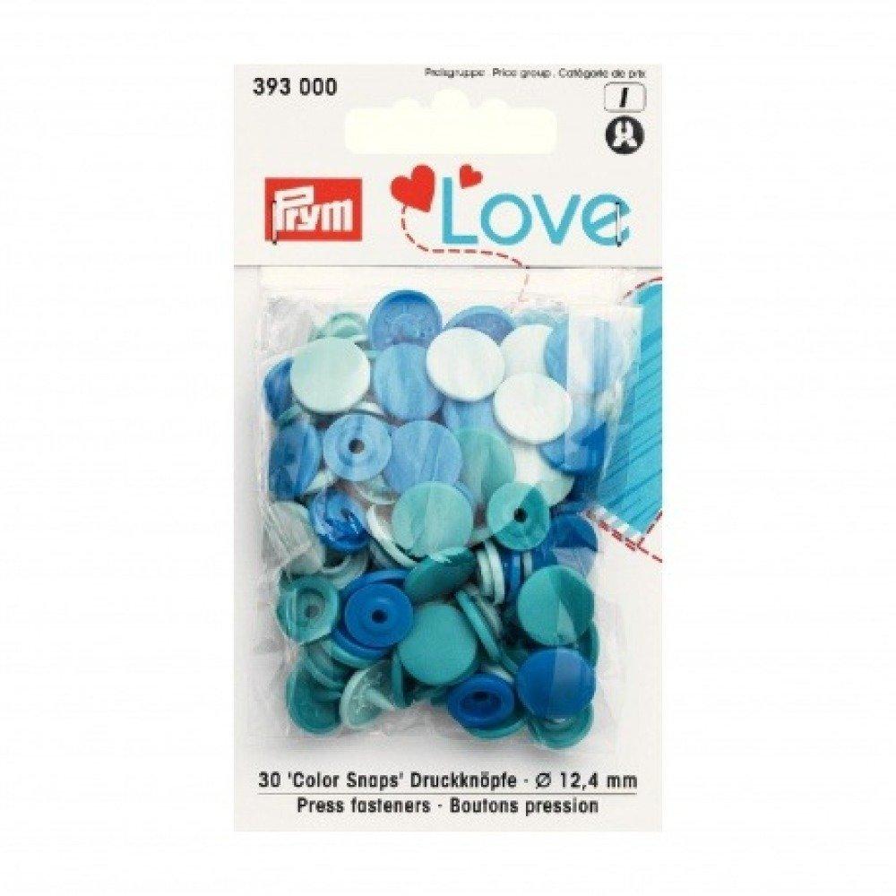 "Boutons pression PRYM ""Love"" rond bleu"