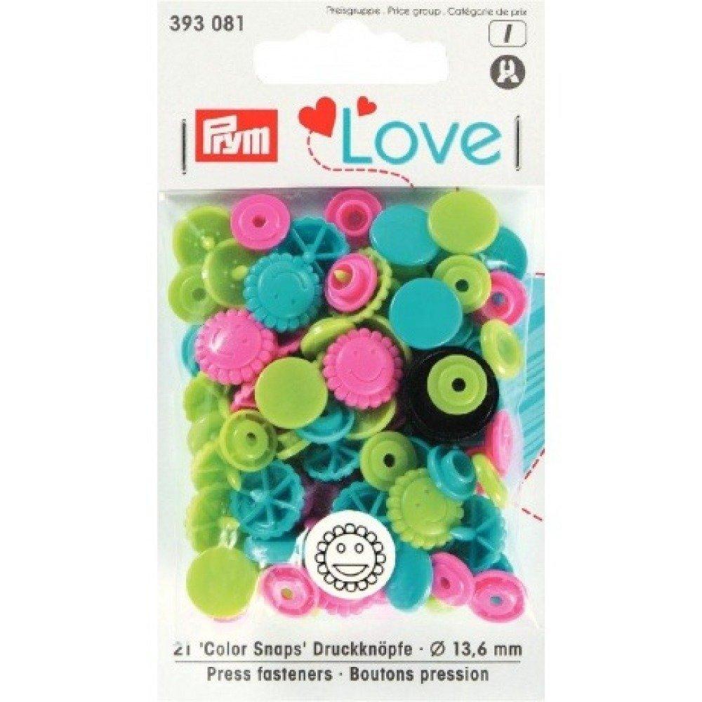 "Boutons pression PRYM ""Love"" fleur vert turquoise rose"