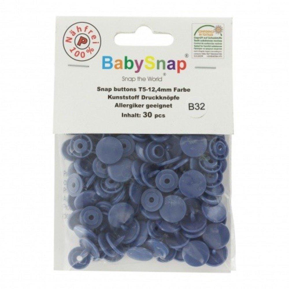 "Boutons pression ""BabySnap®"" rond bleu Jean's"