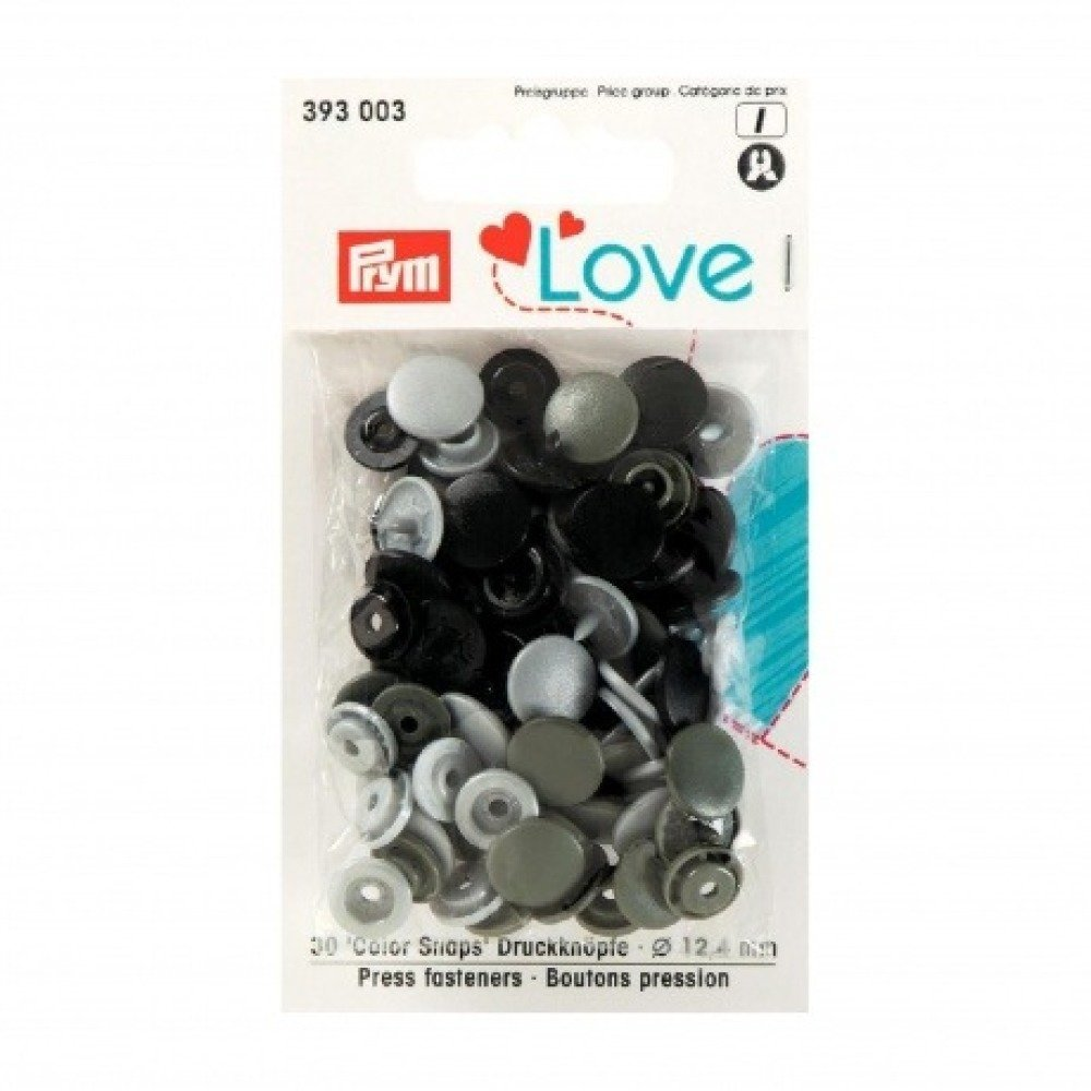 """Boutons pression PRYM """"Love"""" rond noir kaki gris"""