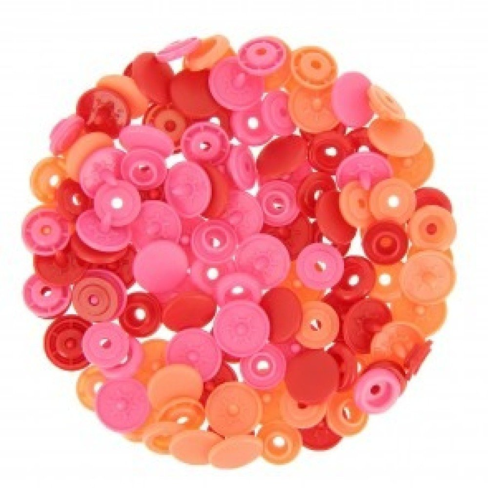 """Boutons pression PRYM """"Love"""" rond rouge rose saumon"""