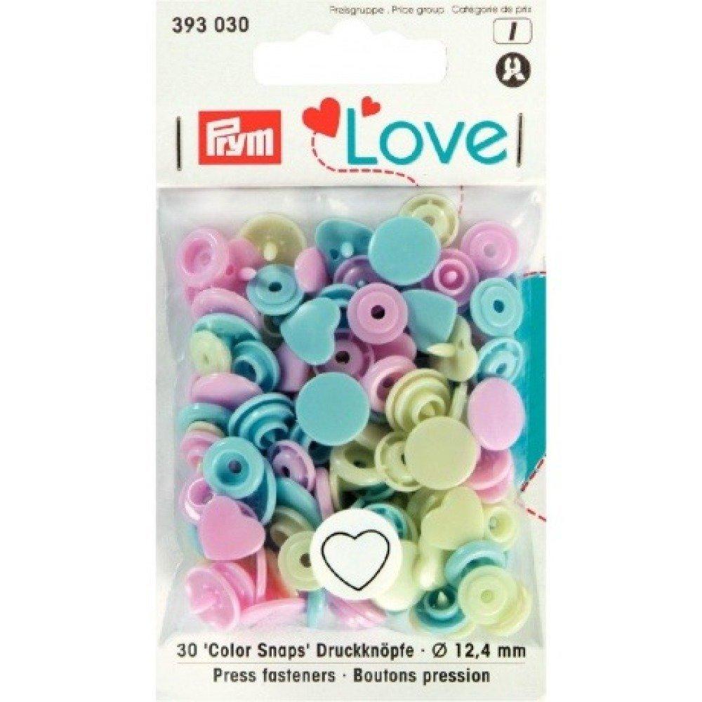 "Boutons pression PRYM ""Love"" cœur rose bleu vert"