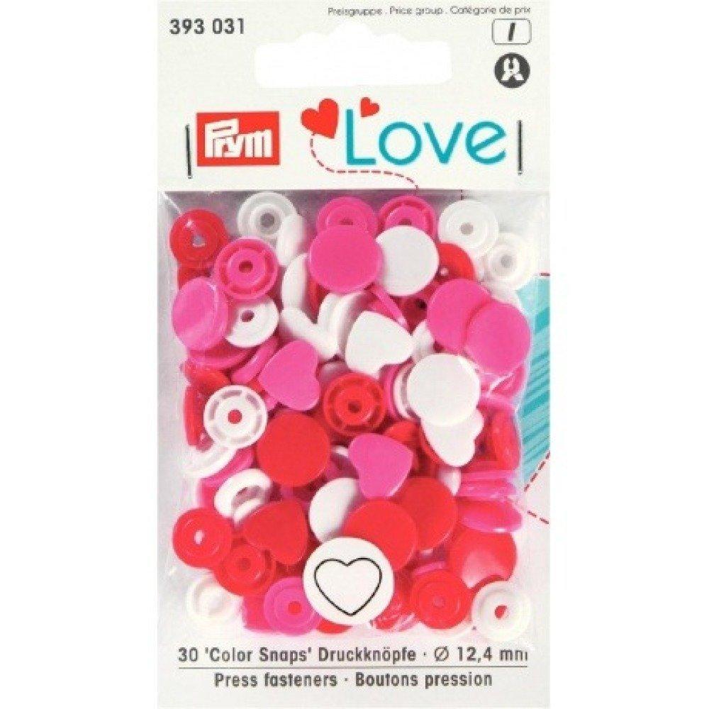 "Boutons pression PRYM ""Love"" cœur  rouge rose blanc"