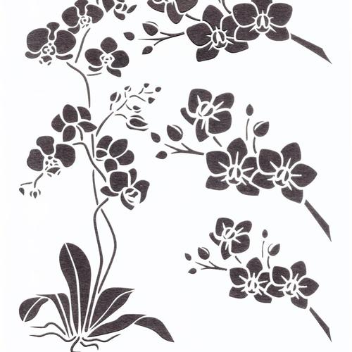 Pochoir orchidée a4