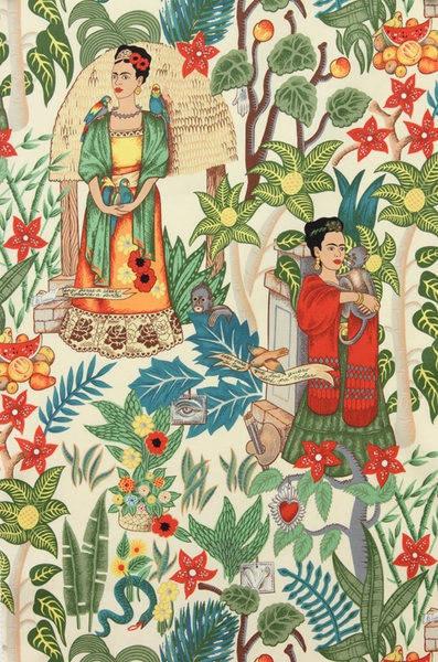 Tissu - Alexander Henry - Frida's Garden - Fond Beige ou Noir