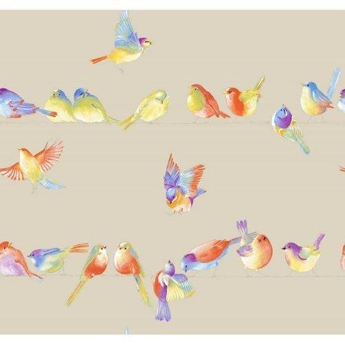 Tissu - happy birds - ameublement - laize 280cm couleur lin - thévenon - oéko tex standard 100