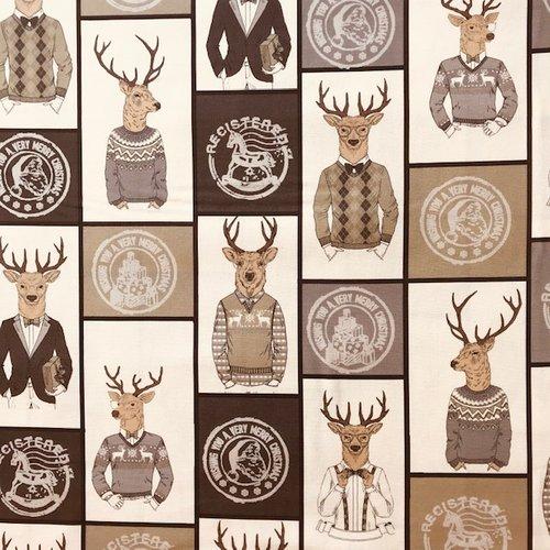 Tissu toile canvas - monsieur léon le cerf - gris et beige