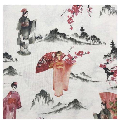 Tissu - geisha & fleurs de cerisiers - demi panama