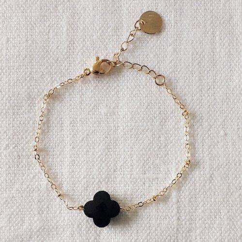 Bracelet lucky agate noire