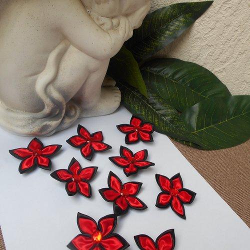 Fleurs satin - rouge et noir avec strass - lot de 9 fleurs