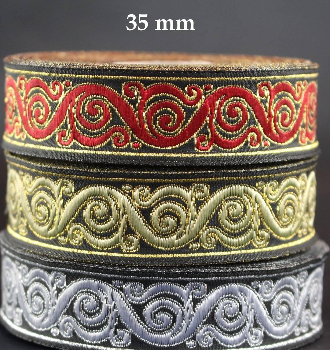 Galon médieval brodé jacquard largeur 35 mm