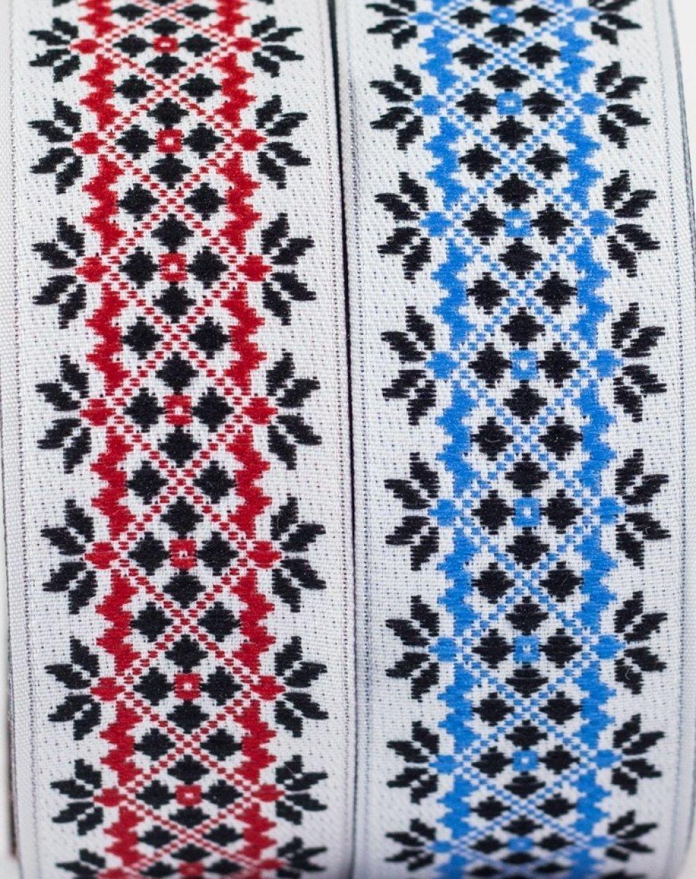 Galon couture brodé Jacquard** largeur 28 mm
