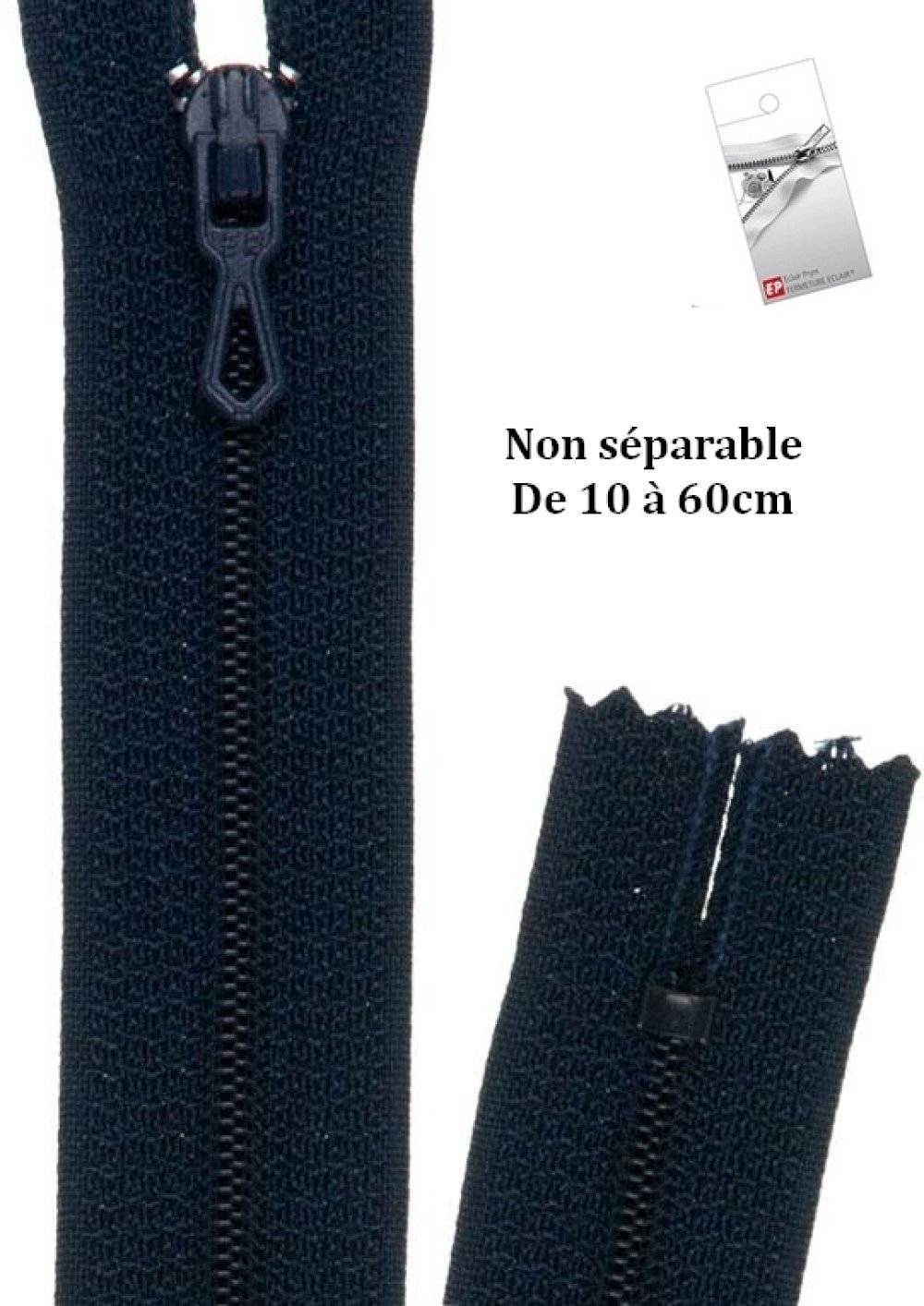 Fermeture éclair bleu marine non séparable 25cm de la marque Eclair Prestil Z51