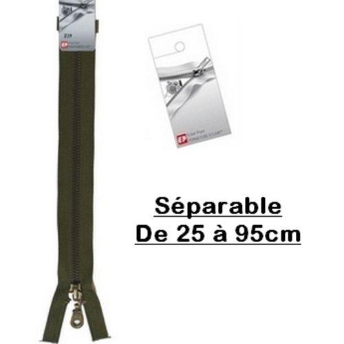 Fermeture eclair 25cm vert kaki séparable pour blouson de la marque eclair-prestil z19