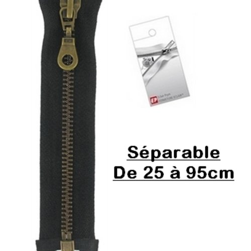 Fermeture eclair 30cm noire séparable pour blouson de la marque eclair-prestil z19