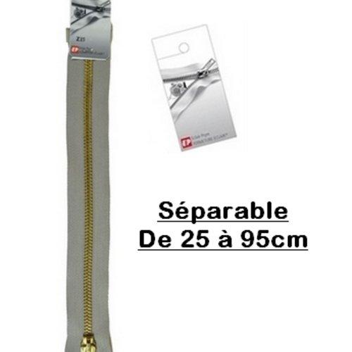 Fermeture eclair 75cm gris séparable pour blouson de la marque eclair-prestil z19